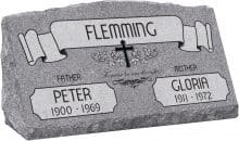 30inch_x_10inch_x_16inch_Serp_Top_Slant_Headstone_polished_front_and_back_in_Grey_with_design_AS-021,_Sanded_Panel