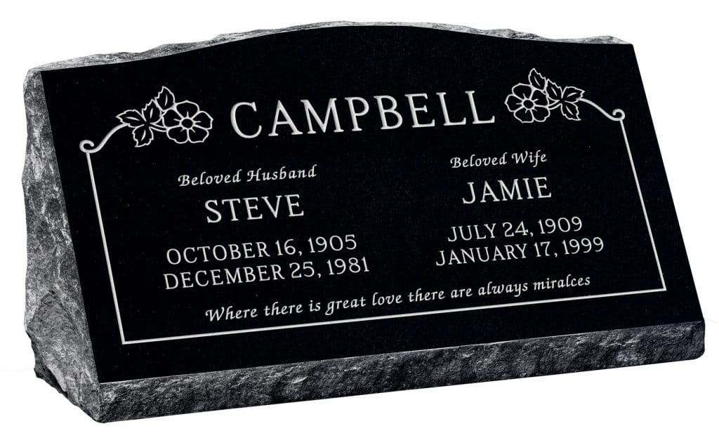 30inch_x_10inch_x_16inch_Serp_Top_Slant_Headstone_polished_front_and_back_in_Imperial_Black_with_design_SD-116