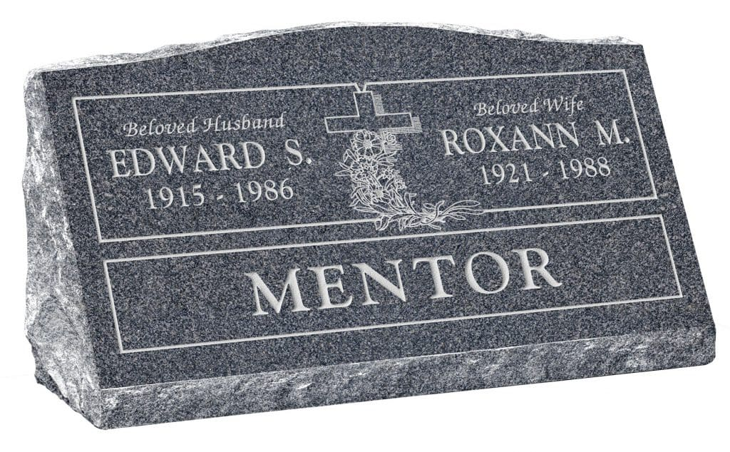 30inch_x_10inch_x_16inch_Serp_Top_Slant_Headstone_polished_front_and_back_in_Imperial_Grey_with_design_R-8