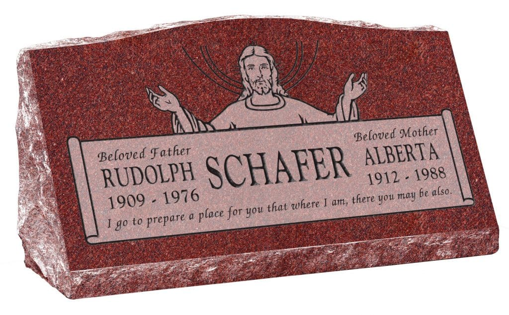 30inch_x_10inch_x_16inch_Serp_Top_Slant_Headstone_polished_front_and_back_in_Imperial_Red_with_design_R-36,_Sanded_Panel