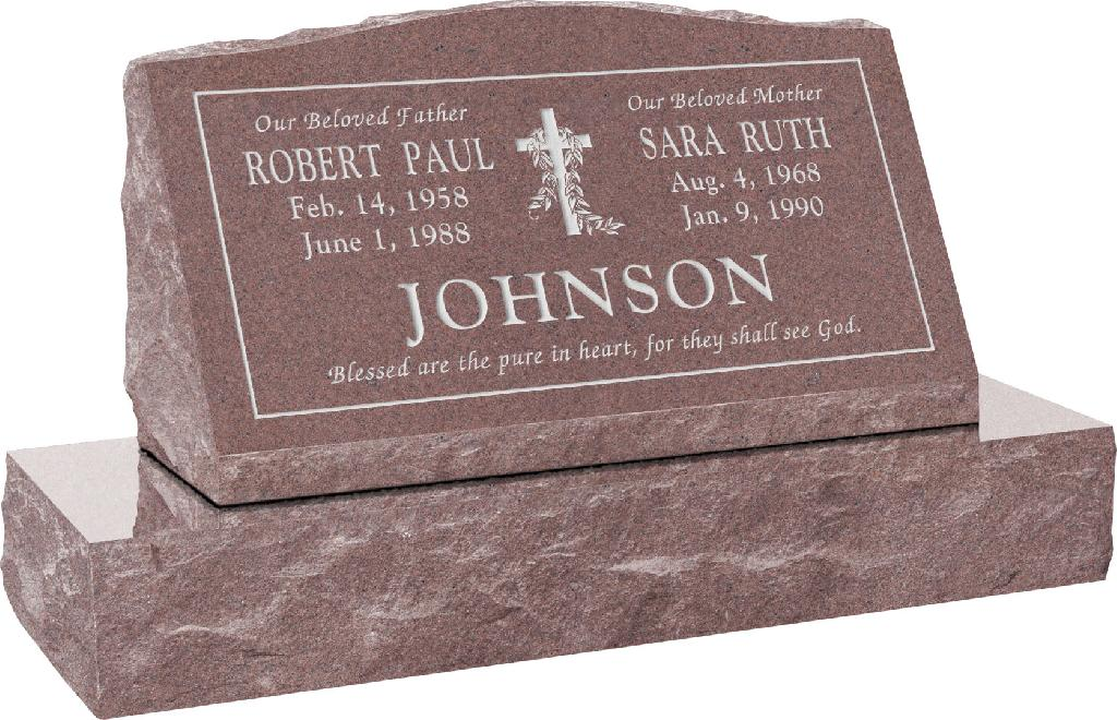 30inch_x_10inch_x_16inch_Serp_Top_Slant_Headstone_polished_front_and_back_with_36inch_Base_in_Desert_Pink_with_design_V-3