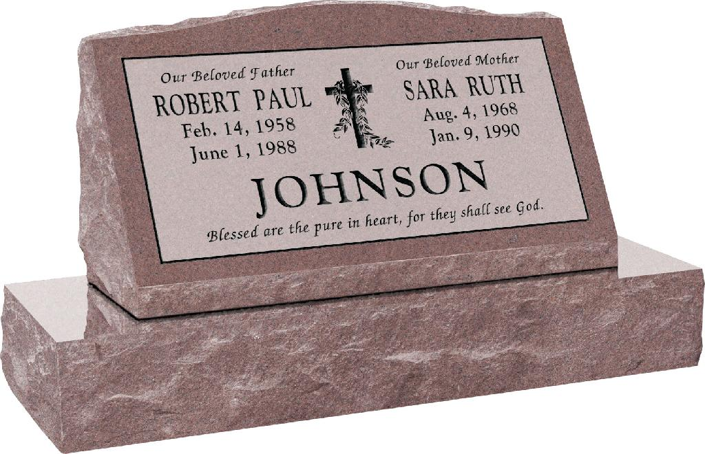30inch_x_10inch_x_16inch_Serp_Top_Slant_Headstone_polished_front_and_back_with_36inch_Base_in_Desert_Pink_with_design_V-3,_Sanded_Panel