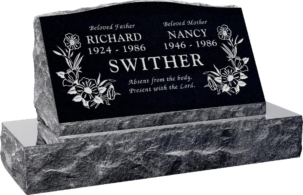 30inch_x_10inch_x_16inch_Serp_Top_Slant_Headstone_polished_front_and_back_with_36inch_Base_in_Imperial_Black_with_design_T-7
