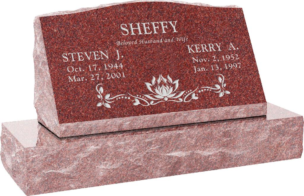 30inch_x_10inch_x_16inch_Serp_Top_Slant_Headstone_polished_front_and_back_with_36inch_Base_in_Imperial_Red_with_design_SD-120