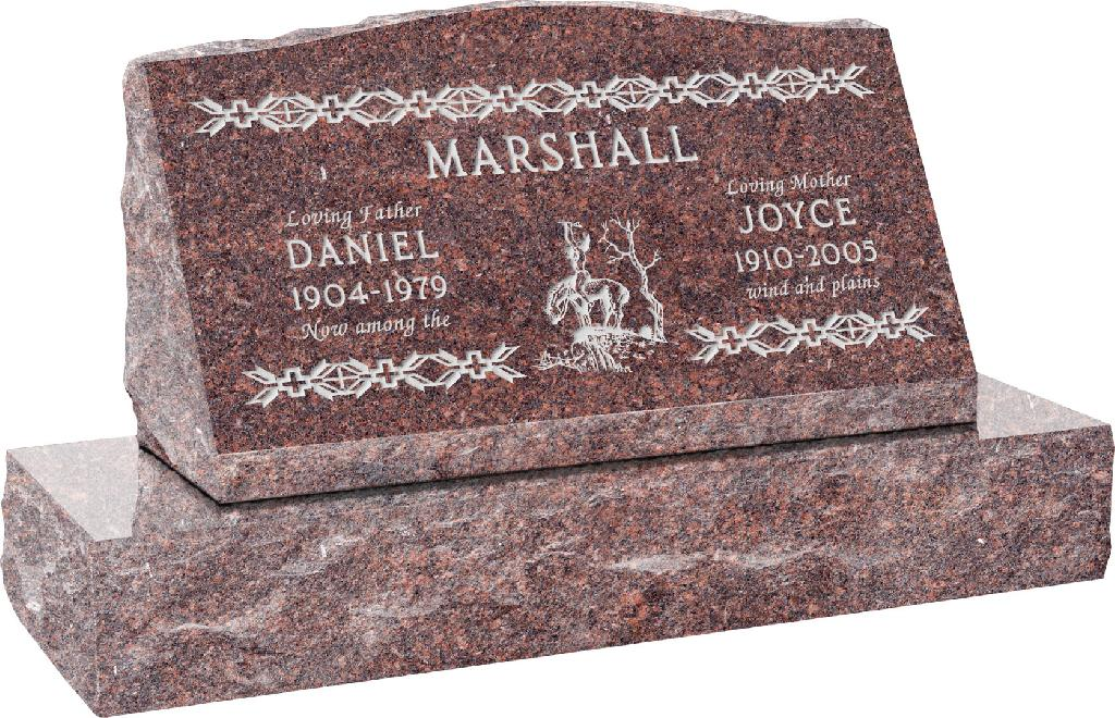 30inch_x_10inch_x_16inch_Serp_Top_Slant_Headstone_polished_front_and_back_with_36inch_Base_in_Mahogany_with_design_SD-204