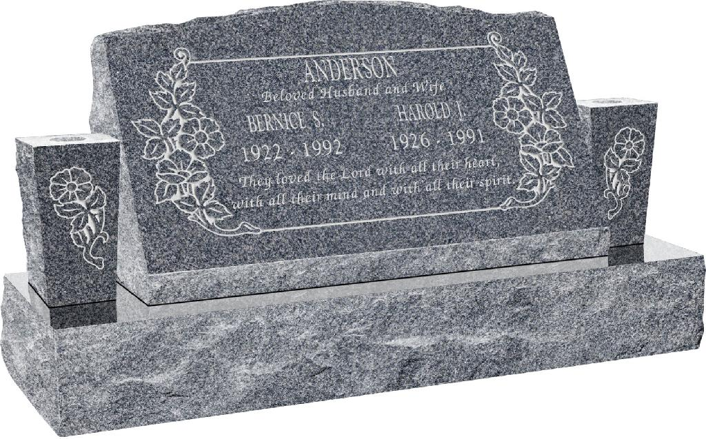 30inch_x_10inch_x_16inch_Serp_Top_Slant_Headstone_polished_front_and_back_with_42inch_Base_and_two_square_tapered_Vases_in_Imperial_Grey_with_design_C-101