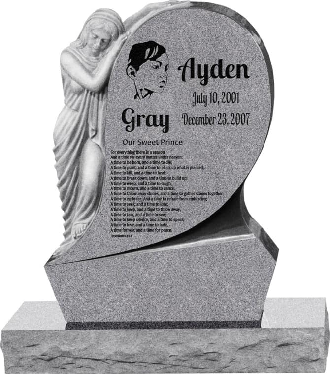 31inch_x_6inch_x_42inch_Saint_Mary_Upright_Headstone_polished_all_sides_with_34inch_Base_in_Grey_with_design_1