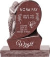 31inch_x_6inch_x_42inch_Saint_Mary_Upright_Headstone_polished_all_sides_with_34inch_Base_in_Imperial_Red_with_design_1