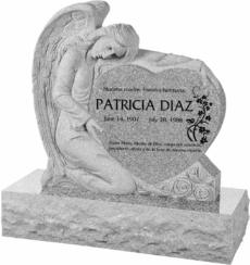 32 inch x 8 inch x 32 inch Angel with Heart Upright Headstone polished all sides with 40 inch Base in Grey