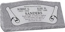 36inch_x_10inch_x_16inch_Serp_Top_Slant_Headstone_polished_front_and_back_in_Grey_with_design_B-7,_Sanded_Panel