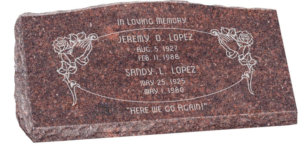 36inch_x_10inch_x_16inch_Serp_Top_Slant_Headstone_polished_front_and_back_in_Mahogany_with_design_SD-303