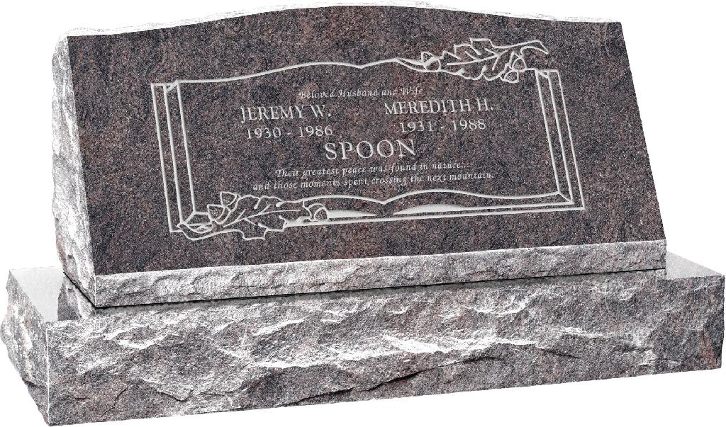 36inch_x_10inch_x_16inch_Serp_Top_Slant_Headstone_polished_front_and_back_with_42inch_base_in_Himalayan_with_design_F-407