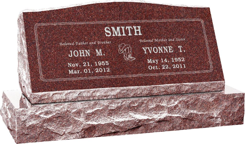 36inch_x_10inch_x_16inch_Serp_Top_Slant_Headstone_polished_front_and_back_with_42inch_base_in_Imperial_Red_with_design_SD-202