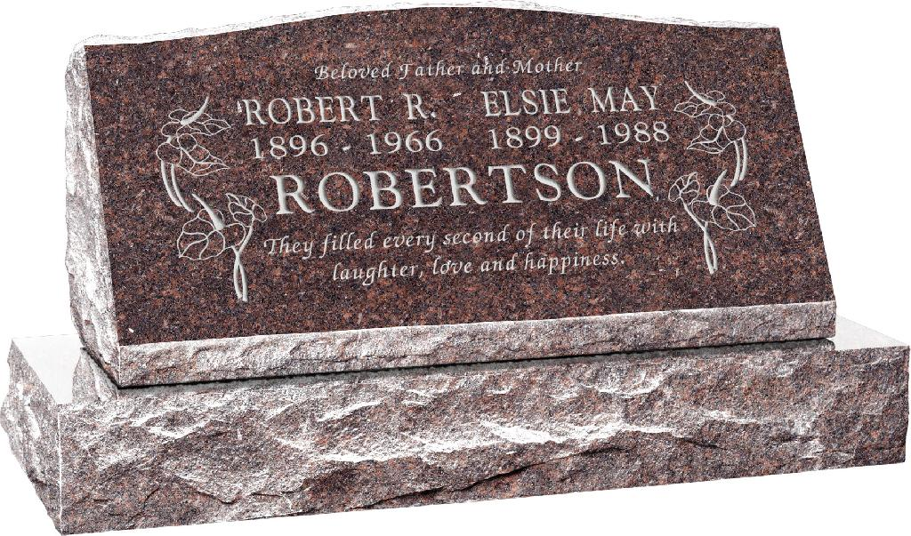 36inch_x_10inch_x_16inch_Serp_Top_Slant_Headstone_polished_front_and_back_with_42inch_base_in_Mahogany_with_design_R-15