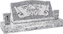 36inch_x_10inch_x_16inch_Serp_Top_Slant_Headstone_polished_front_and_back_with_52inch_base_and_two_square_tapered_vases_in_Grey_with_design_B-7,_Sanded_Panel