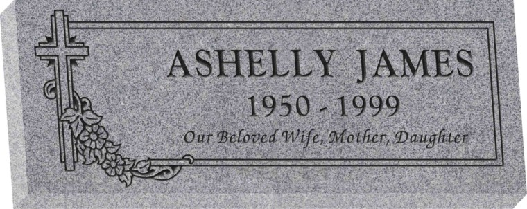 36inch_x_14inch_x_4inch_Flat_Granite_Headstone_in_Grey_with_design_SD-307