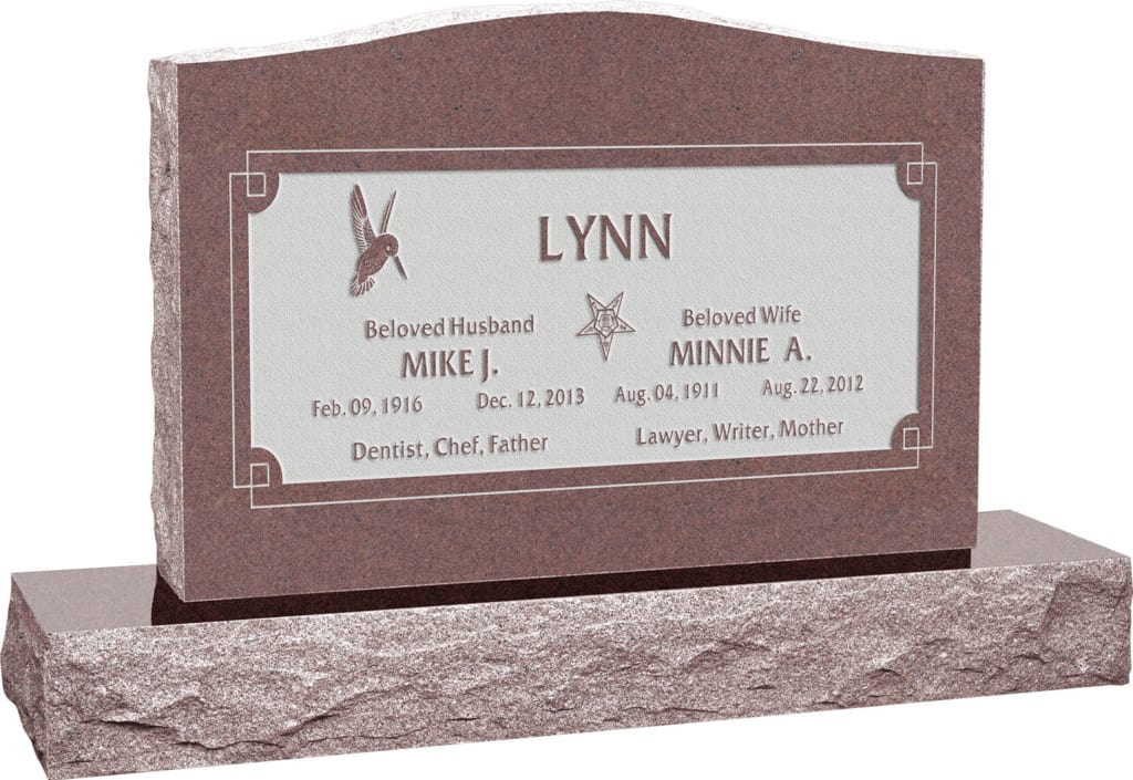 36 inch x 6 inch x 24 inch Serp Top Upright Headstone polished front and back with 48 inch Base in Desert Pink with design F-104