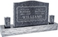 36 inch x 6 inch x 24 inch Serp Top Upright Headstone polished front and back with 60 inch Base and two square tapered Vases in Blue Pearl with design T-5