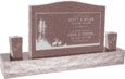 36 inch x 6 inch x 24 inch Serp Top Upright Headstone polished front and back with 60 inch Base and two square tapered Vases in Desert Pink with design SD-412
