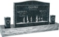 36 inch x 6 inch x 24 inch Serp Top Upright Headstone polished front and back with 60 inch Base and two square tapered Vases in Emerald Pearl with design SD-414