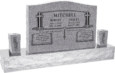 36 inch x 6 inch x 24 inch Serp Top Upright Headstone polished front and back with 60 inch Base and two square tapered Vases in Grey with design SD-902