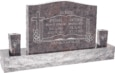 36 inch x 6 inch x 24 inch Serp Top Upright Headstone polished front and back with 60 inch Base and two square tapered Vases in Himalayan with design SD-332