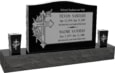 36 inch x 6 inch x 24 inch Serp Top Upright Headstone polished front and back with 60 inch Base and two square tapered Vases in Imperial Black with design SD-330 Sanded Panel