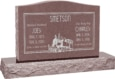 36 inch x 6 inch x 24 inch Serp Top Upright Headstone polished top front and back with 48 inch Base in Desert Pink with design SD-612