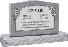 36 inch x 6 inch x 24 inch Serp Top Upright Headstone polished top front and back with 48 inch Base in Grey with design SD-114 Sanded Panel