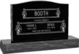 36 inch x 6 inch x 24 inch Serp Top Upright Headstone polished top front and back with 48 inch Base in Imperial Black with design V-252