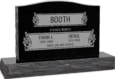 36 inch x 6 inch x 24 inch Serp Top Upright Headstone polished top front and back with 48 inch Base in Imperial Black with design V-252 Sanded Panel