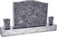 36inch_x_6inch_x_24inch_Serp_Top_Upright_Headstone_polished_top,_front_and_back_with_60inch_Base_and_two_square_tapered_Vases_in_Bahama_Blue_with_design_B-15