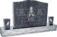 36inch_x_6inch_x_24inch_Serp_Top_Upright_Headstone_polished_top,_front_and_back_with_60inch_Base_and_two_square_tapered_Vases_in_Blue_Pearl_with_design_F-118