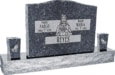 36inch_x_6inch_x_24inch_Serp_Top_Upright_Headstone_polished_top,_front_and_back_with_60inch_Base_and_two_square_tapered_Vases_in_Blue_Pearl_with_design_F-118_Sanded