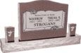 36inch_x_6inch_x_24inch_Serp_Top_Upright_Headstone_polished_top,_front_and_back_with_60inch_Base_and_two_square_tapered_Vases_in_Desert_Pink_with_design_B-13_Sanded