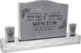 36inch_x_6inch_x_24inch_Serp_Top_Upright_Headstone_polished_top_front_and_back_with_60inch_Base_and_two_square_tapered_Vases_in_Grey_with_design_R-14 copy