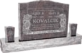 36inch_x_6inch_x_24inch_Serp_Top_Upright_Headstone_polished_top,_front_and_back_with_60inch_Base_and_two_square_tapered_Vases_in_Himalayan_with_design_B-08