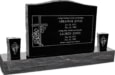 36inch_x_6inch_x_24inch_Serp_Top_Upright_Headstone_polished_top_front_and_back_with_60inch_Base_and_two_square_tapered_Vases_in_Imperial_Black_with_design_R-14
