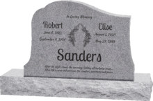 36inch_x_6inch_x_24inch_Solitude_Upright_Headstone_polished_all_sides_with_48inch_Base_in_Grey_with_design_1