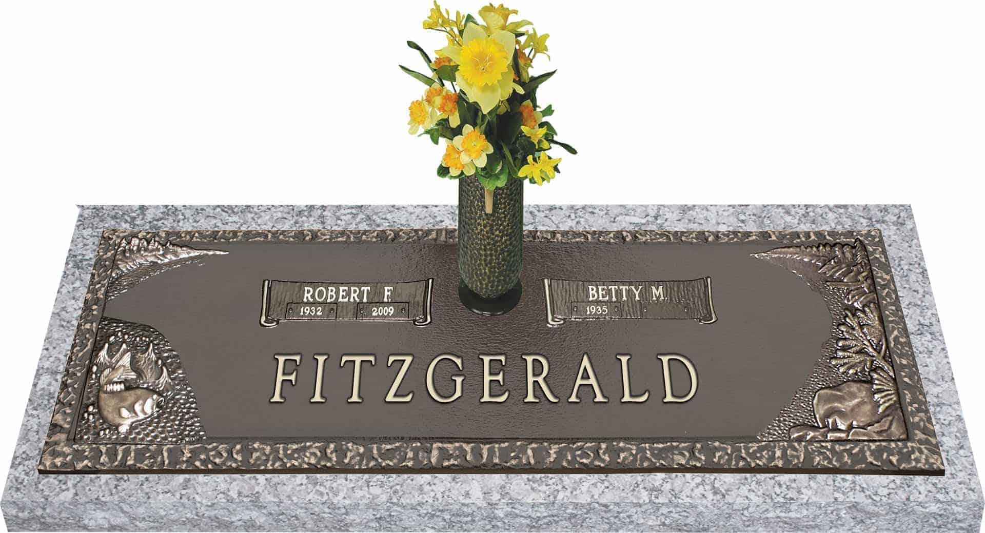 Bronze Headstone 36x13 Companion With Vase Honor Life