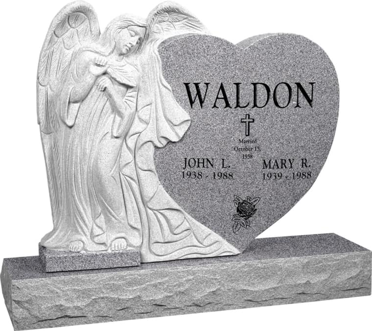 40 inch x 8 inch x 33 inch Leaning Angel Heart Upright Headstone polished all sides with 48 inch Base in Grey