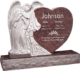 40 inch x 8 inch x 33 inch Leaning Angel Heart Upright Headstone polished all sides with 48 inch Base in Mahogany