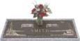 44x14 Dark Bronze Desert Scene with Granite Base and Vase Front Perspective