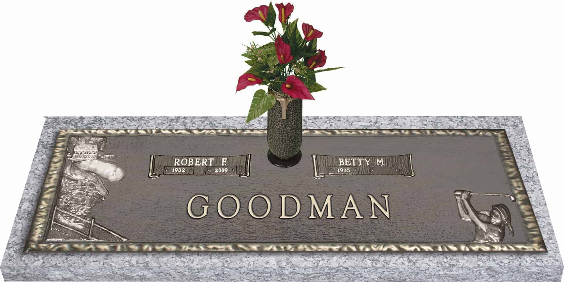 Bronze headstone 44x14 companion with vase honor life 44x14 dark bronze golf female with granite base and vase front perspective reviewsmspy