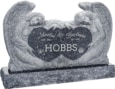 50 inch x 8 inch x 30 inch Double Angels and Hearts Upright Headstone polished all sides with 60 inch Base in Blue Pearl