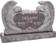 50 inch x 8 inch x 30 inch Double Angels and Hearts Upright Headstone polished all sides with 60 inch Base in Himalayan