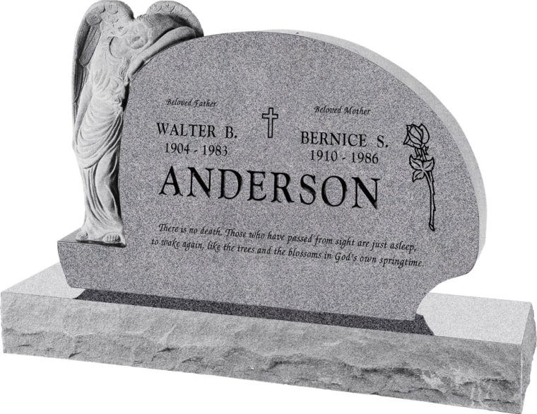 54 inch x 8 inch x 36 inch Resting Angel Upright Headstone polished all sides with 66 inch Base in Grey
