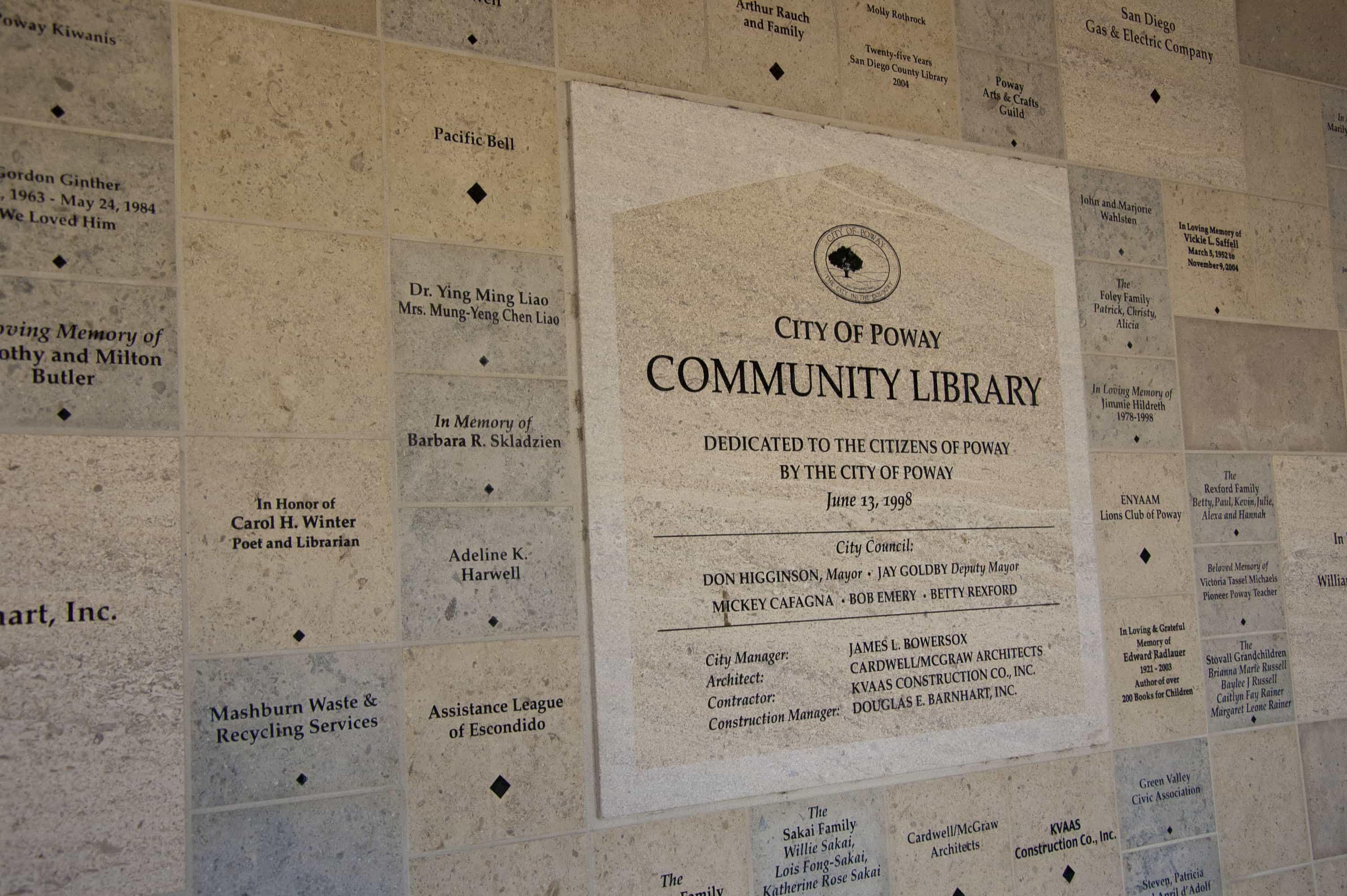 City-of-Poway-Library-Donor-Wall-angle-shot