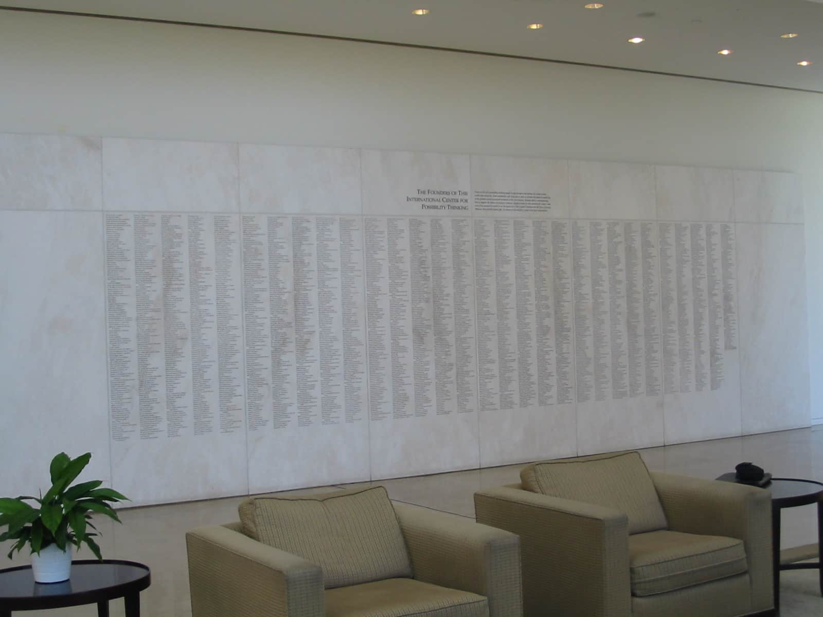 Crystal Cathedral white marble donor wall