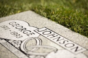 Grey Flat Headstone Closeup